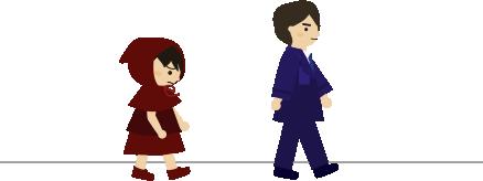しょんぼりしながら廊下を歩く