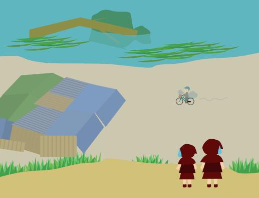 荒れた川におっちゃんの家