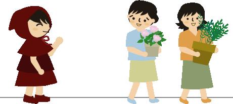 近所の人に鉢植えをもらってもらう