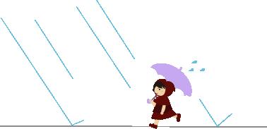 小雨降る中を急ぐ
