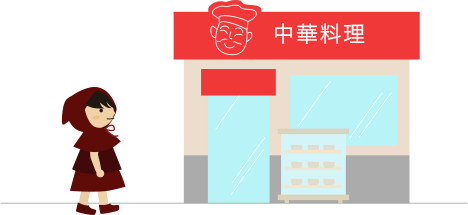 似顔絵の看板のある中華料理屋さん