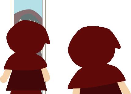 鏡を覗き込む