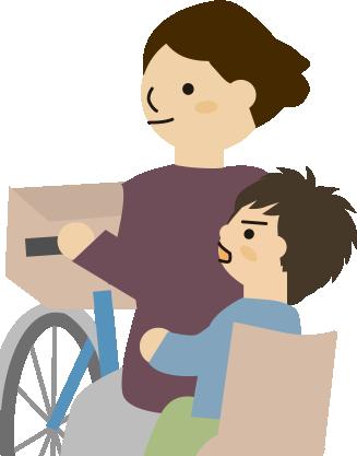 男の子が自転車の後ろから話しかける