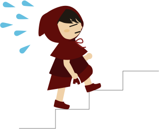 階段を上がる