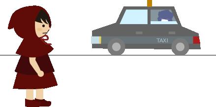 信号待ちのタクシー
