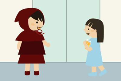 エレベータ前で小さい子と会う