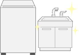 洗面台も新しく