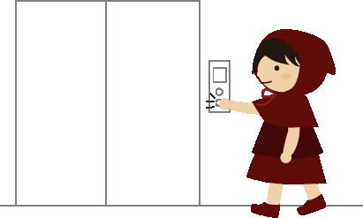 エレベータのボタンを押す