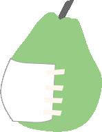 お腹のガーゼを洋梨で表現しています