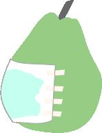 お腹のガーゼに滲み出てきた水を洋梨で表現しています