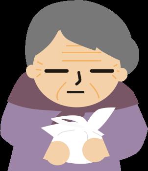 袋を抱えたおばあちゃん