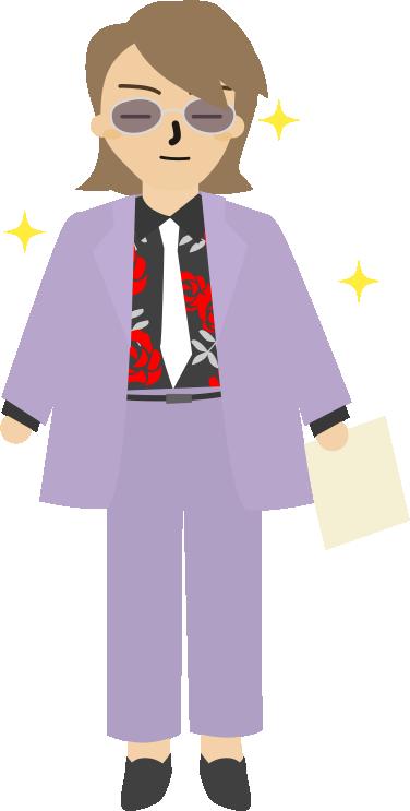 紫のスーツに薔薇のシャツの人