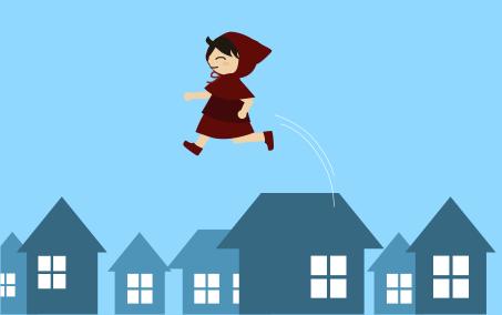 屋根の上を飛ぶ