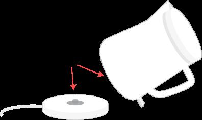 電気ポットの底のところの接触