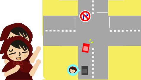 右折禁止の交差点を曲がろうとする車