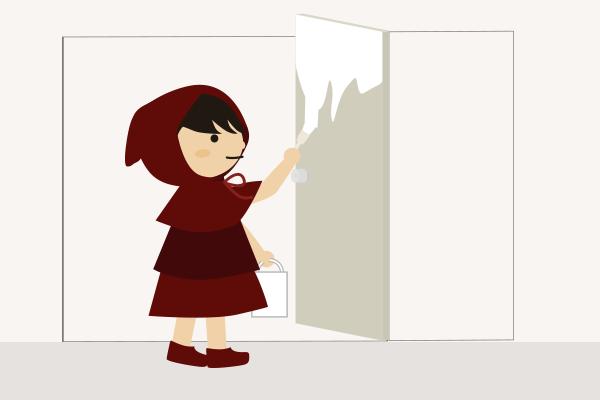 クローゼットの扉のペンキ塗り