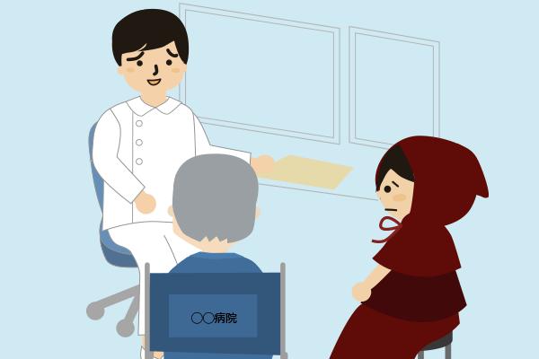 病院の先生と話す