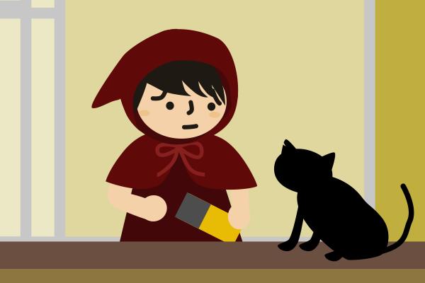 猫にご飯をあげようとする