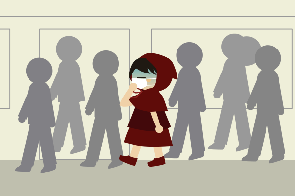 人混みを歩く