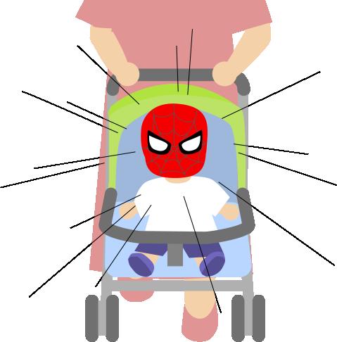 ベビーカーにスパイダーマン