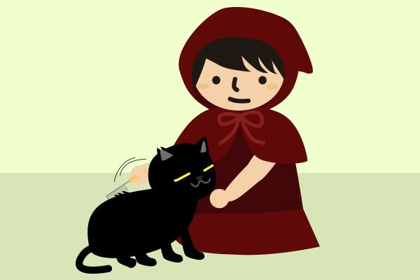 黒猫の毛に櫛を入れる赤ずきん
