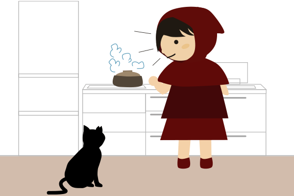 ご飯の用意と黒猫