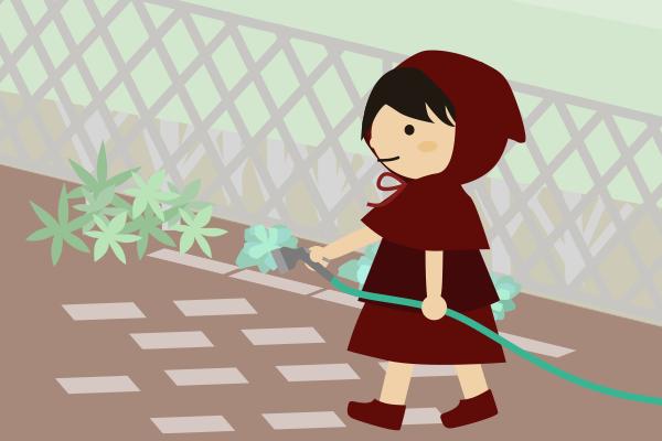 庭に水をまく