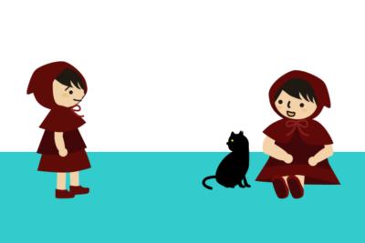 赤ずきん親子と黒猫